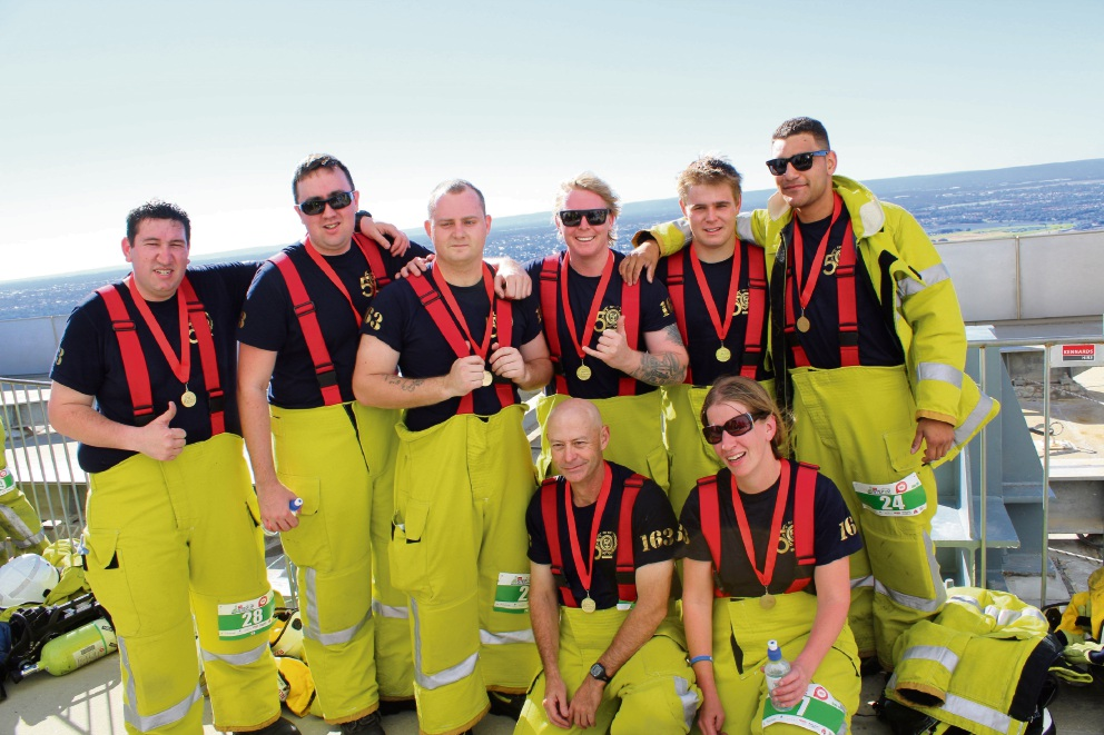 8 Rockingham fireys climb Perth's tallest building to raise money for Multiple Sclerosis Society