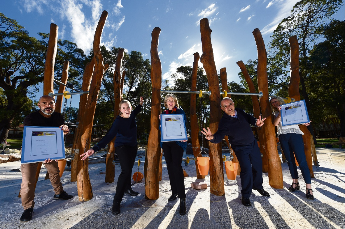 City of Kwinana staff Arif Satar, Alexi Peacock, Mayor Carol Adams, Reza Najafzadeh and Dana Eidsvold with the three awards that the Kwinana Adventure Park received. Picture: Jon Hewson d470726