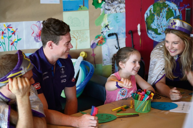 Orlena with Captain Starlights and Fremantle Dockers player Lachie Neale.