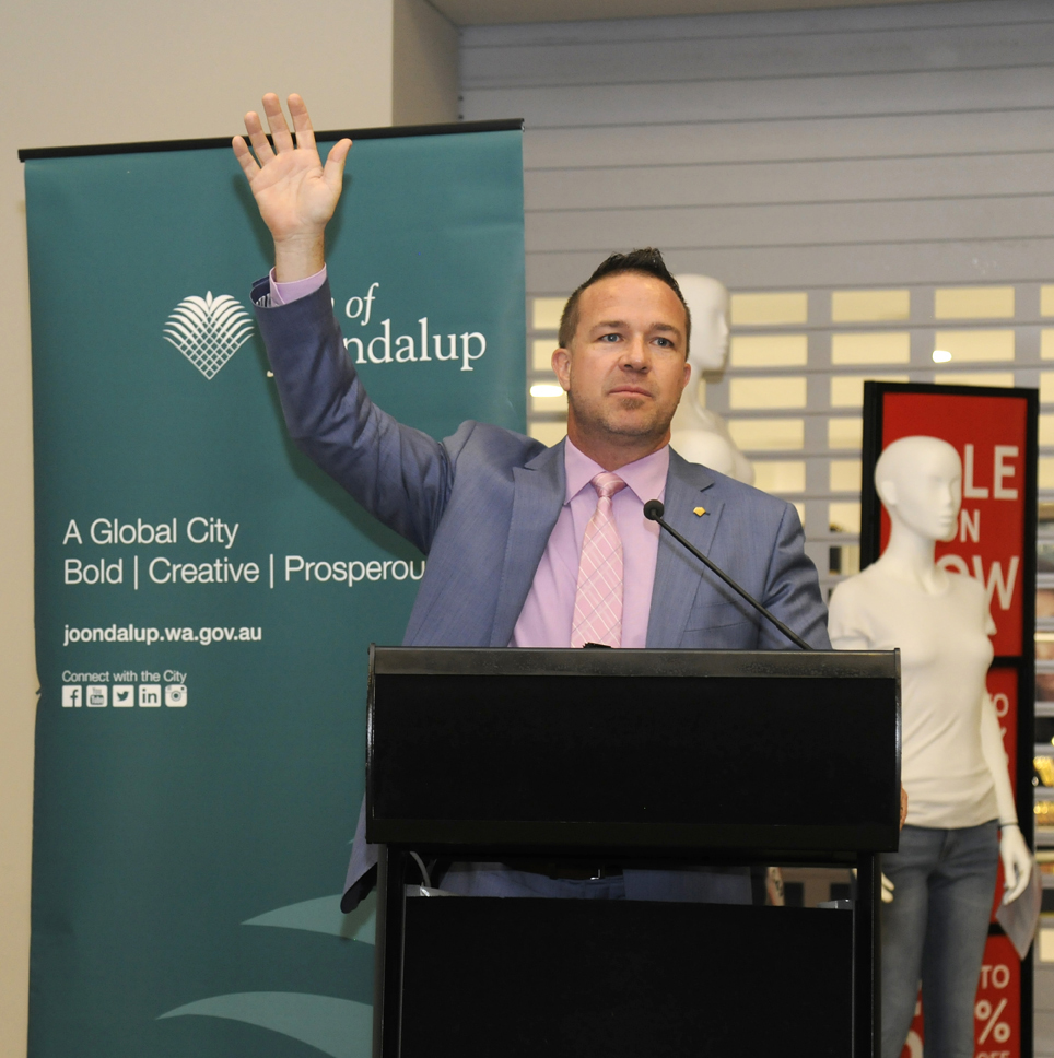 Joondalup Mayor Troy Pickard puts hand up for October election. Picture: Chris Kershaw