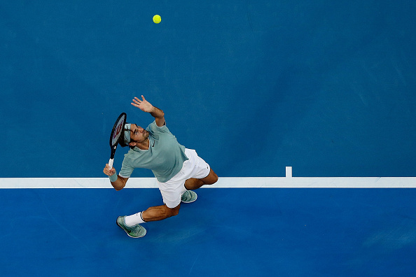 Roger Federer serves during the 2017 Hopman Cup at Perth Arena.  Picture: Will Russell/Getty Images