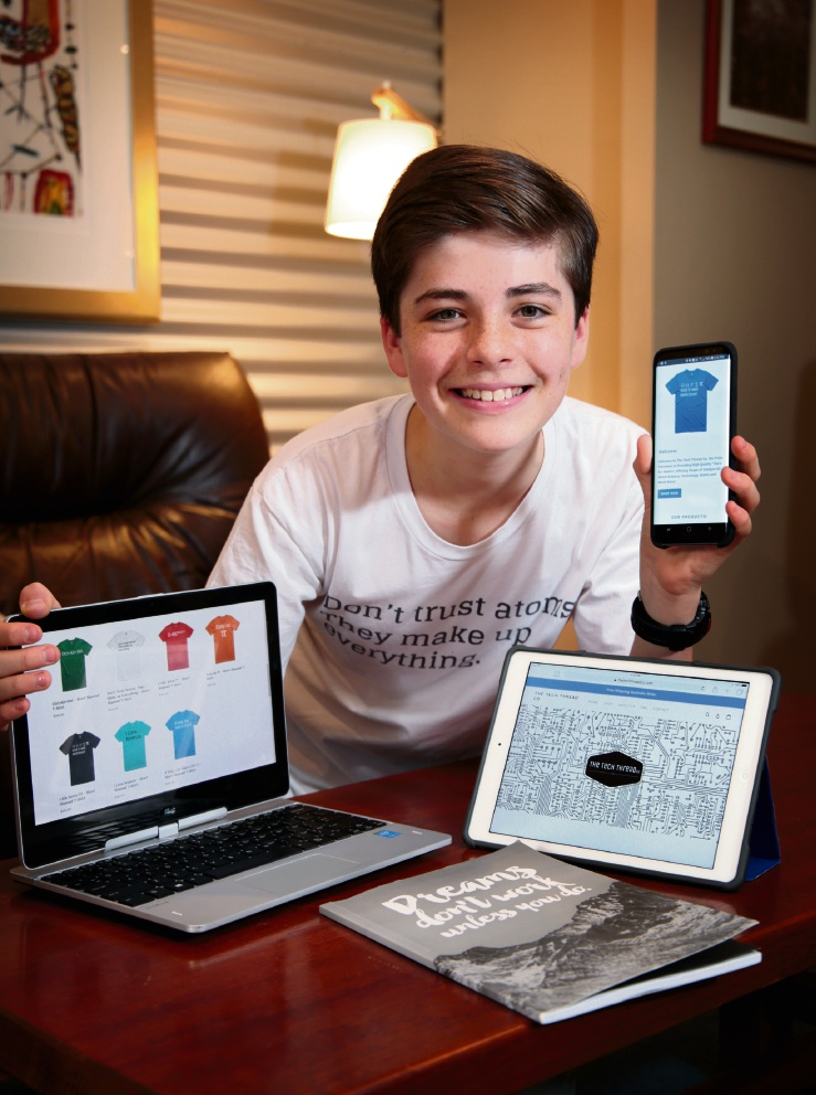 Kai Lovel (13) of Lesmurdie, founder of The Tech Thread Co. Kai has started his own business called The Tech Thread Co. It's an online apparel company aimed at people who love technology, science and maths. Picture: David Baylis