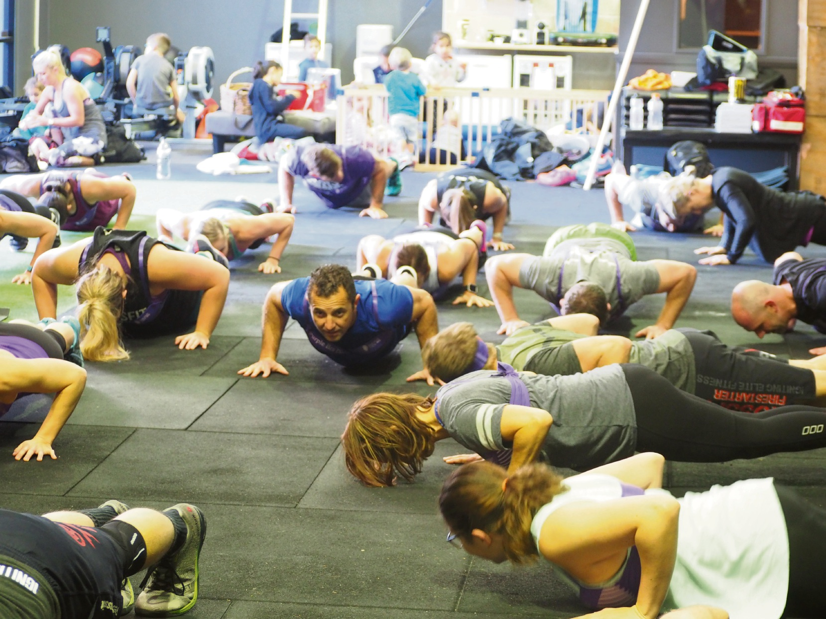 Participants all took part in a military-style work-out.
