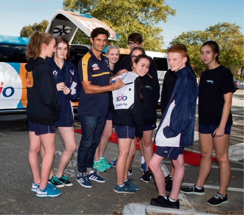 West Coast Eagles player Sharrod Wellingham with St Stephen's School Carramar students. Picture: Tony McDonough