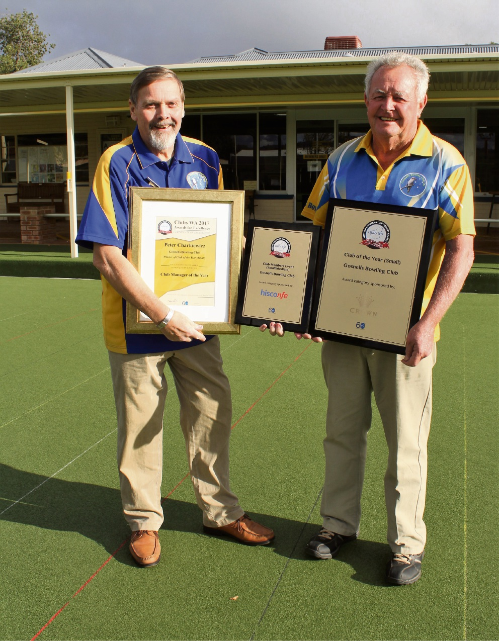 Gosnells Bowling Club president Peter Charkiewicz and vice-president Rob Gibbons with the awards.