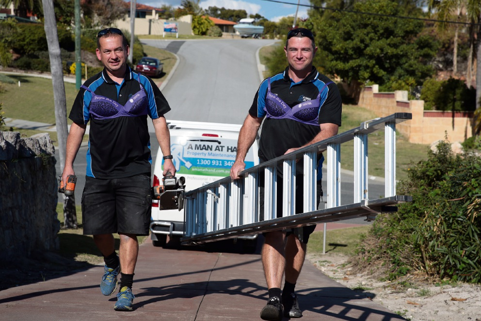 John Langford and Leon White go purple for charity. Picture: Martin Kennealey������� www.communitypix.com.au   d470601
