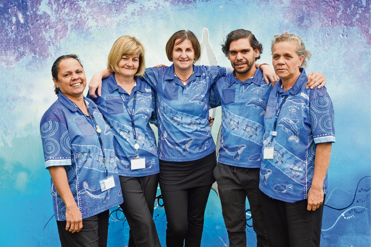 Good health: Nidjalla Waangan Mia staff members Ava Ives, Debbie James, practice manager Kerry Cabassi, Greg Nelson and Michelle Pickett. Picture: Jon Hewson �������www.communitypix.com.au   d470828