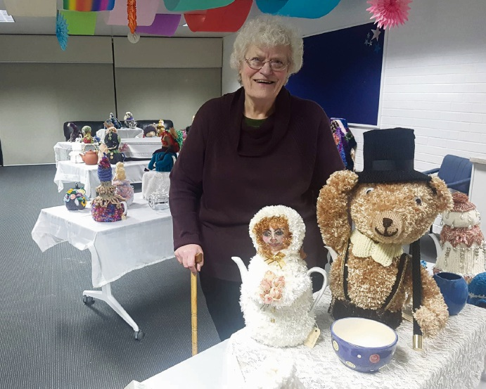 Mary Spencer at her tea cosy exhibition.