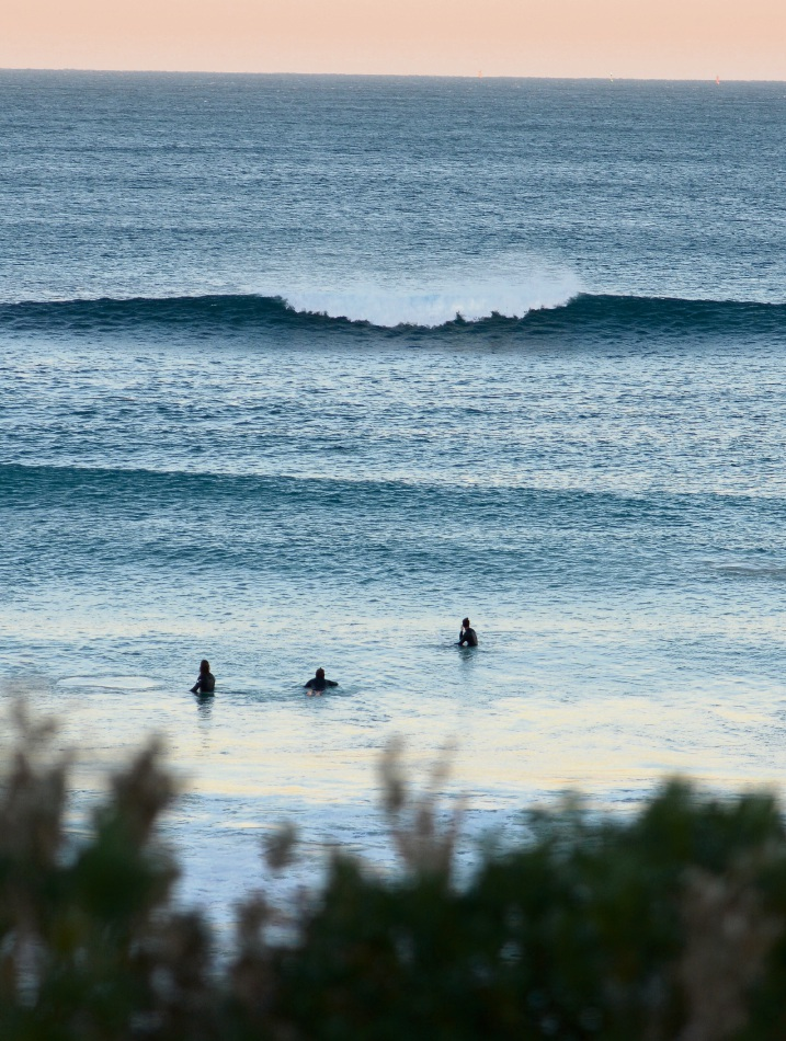 Surfers at 'Cables', the artificial reef off Mosman Park Beach, two weeks ago.