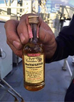 The recovered bottle of Canadian whisky.