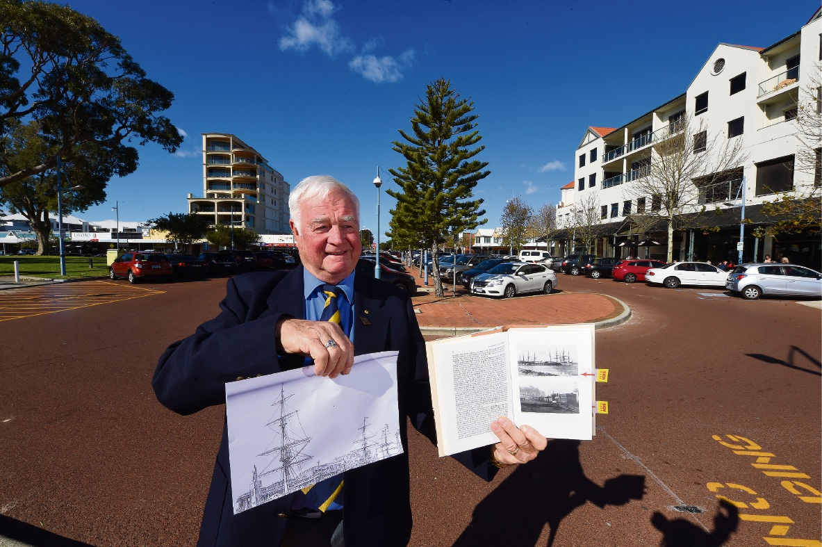Allan Hill with sketches of the mast project on the Rockingham foreshore.