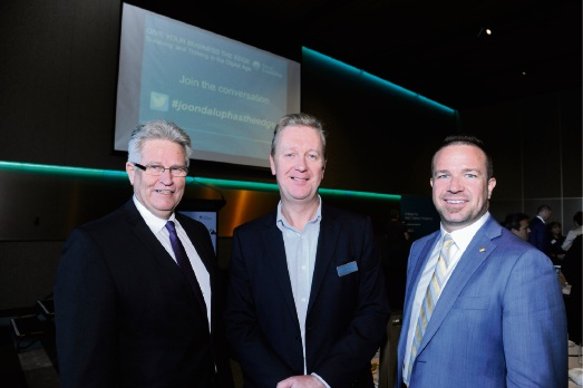 Joondalup chief executive Garry Hunt, Business News chief executive Charlie Gunningham and Joondalup Mayor Troy Pickard. Picture: Chris Kershaw