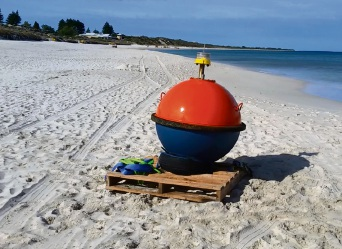 The shark detection buoys. Pictures: Kim Allen