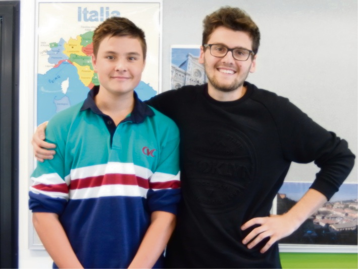 Canning Vale College student Bailey Sullivan (15) with recent Italian visitor Giovanni Tebaldi .