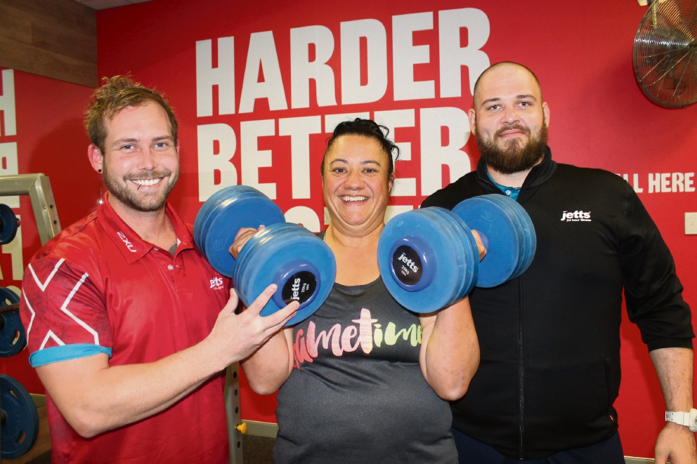 Brains and Beast fitness trainers Matt Eastham and Cliff Bloomfield with Rio-Rita Lutui (centre) at Jetts gym in Kwinana.