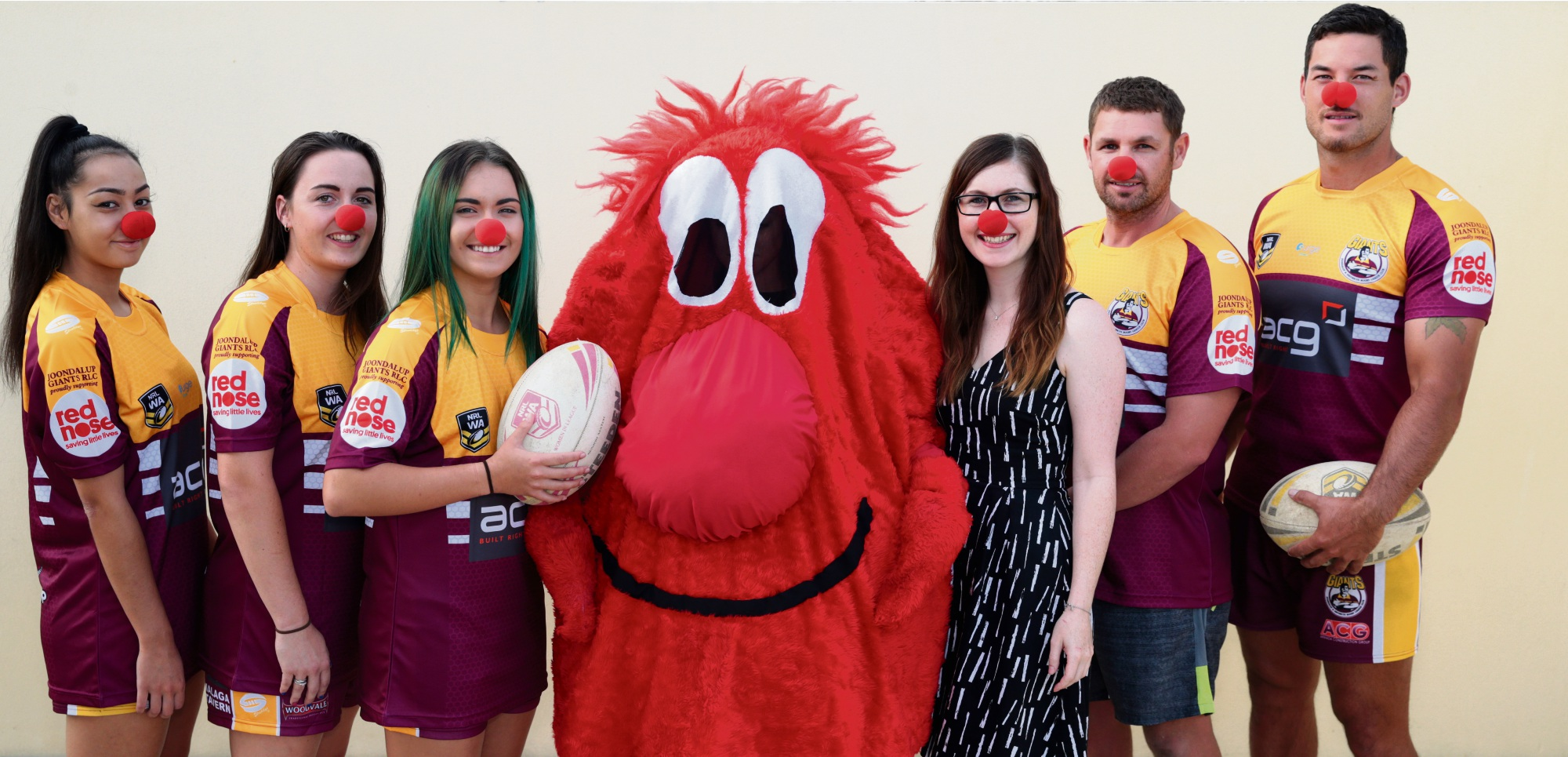 Joondalup Giants players Hayley Ytia, Elle Warren, Bryanna Ramos, Sean Manning and Joell Irving with Rikki Stewart and Sid from Red Nose. Picture: Martin Kennealey