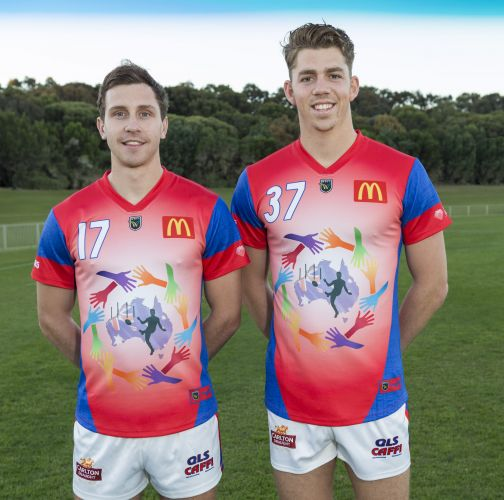 Blake Wilhelm and Tyler Keitel in the Falcons' 2017 International Football Festival design. Picture: Dan White