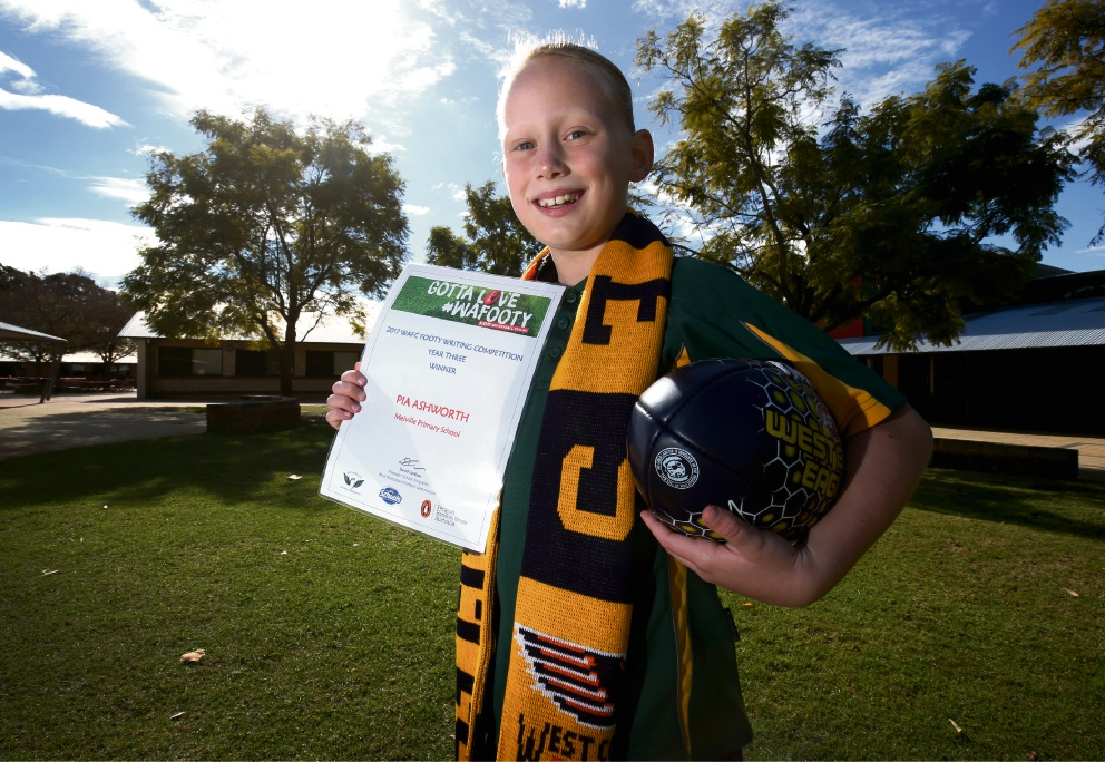 Pia Ashworth won the WA Football Commission's Writing Competition.