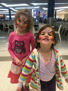 Ruby and Bronte painted as butterflies for the Superhero Saturday fundraiser.