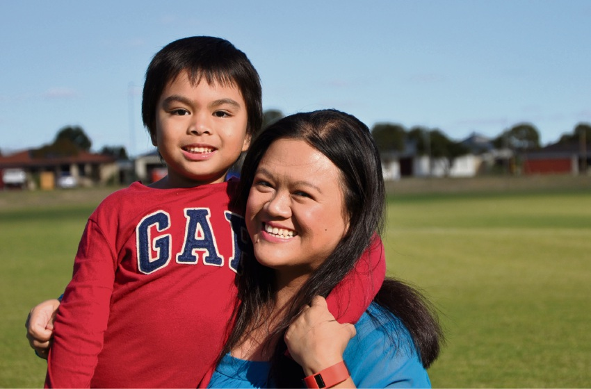 Janette Lano with her son Jayden (5).