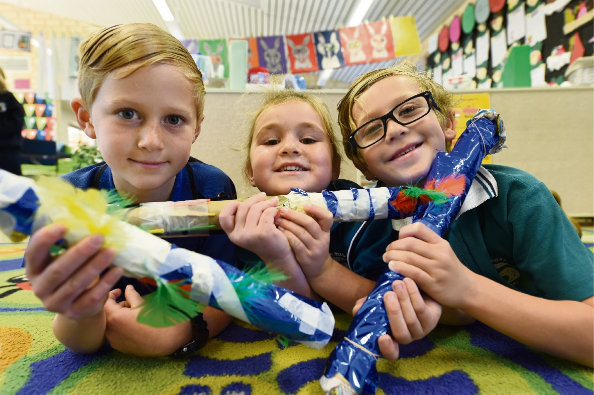 Year 1 students Reef Stockley, Lola Chandler and Luke Anstey. Picture: Jon Hewson d470927