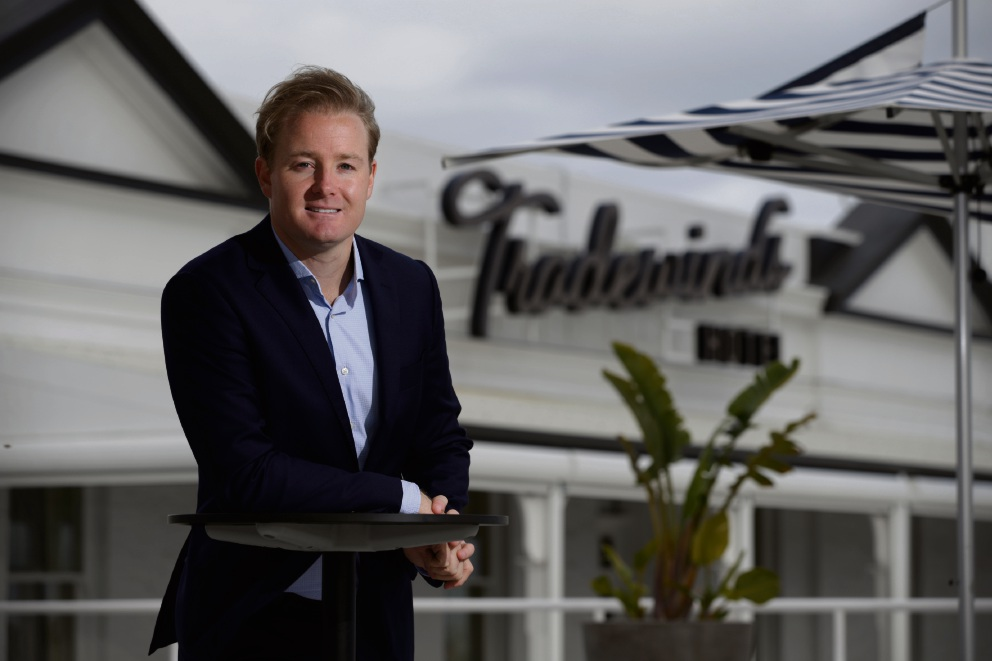 Garrett Prendiville on the rooftop of the refurbished Tradewinds Hotel. Picture: Andrew Ritchie d471143