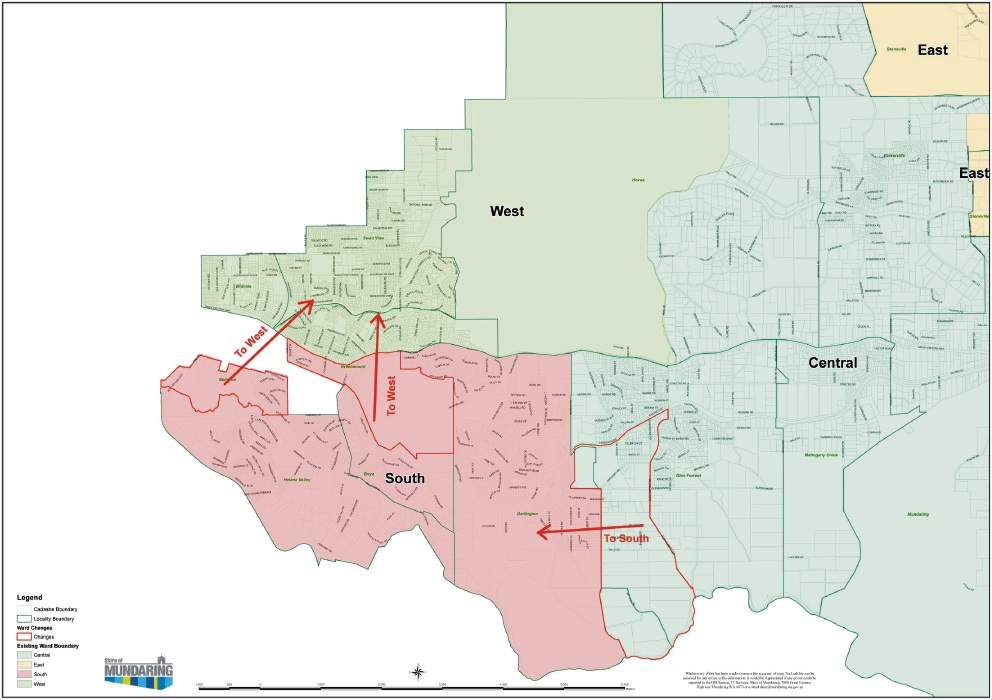 Map of ward boundary changes.