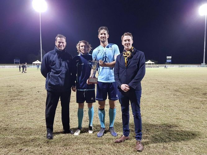 Sorrento coach Jamie Harnwell, club captains Daryl Platten and Steven McDonald and Football West Chief Executive Officer James Curtis with the NPL WA Regional Cup. Picture: Football West