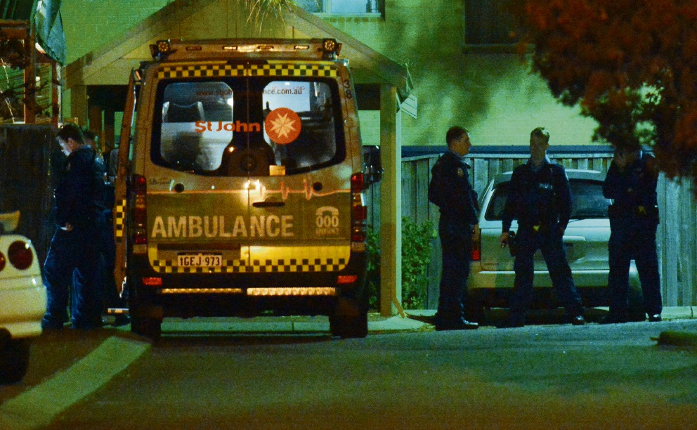 Police and the ambulance at the incident last Tuesday.  Picture: Jon Bassett