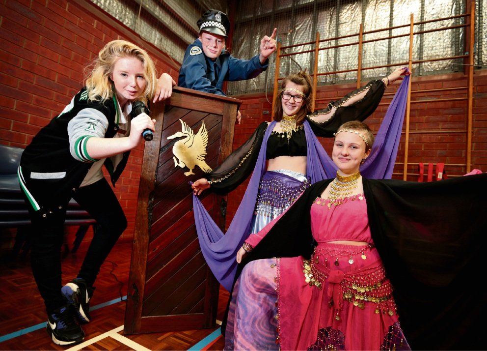 Paige Salmons, Kyle Lamont, Maddi McCracken and Ruby Jamieson in full performance regalia. Picture: David Baylis �������www.communitypix.com.au   d470713