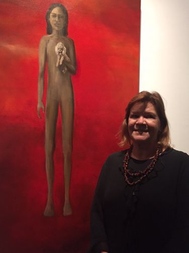 Artist Sharyn Egan with her winning painting.