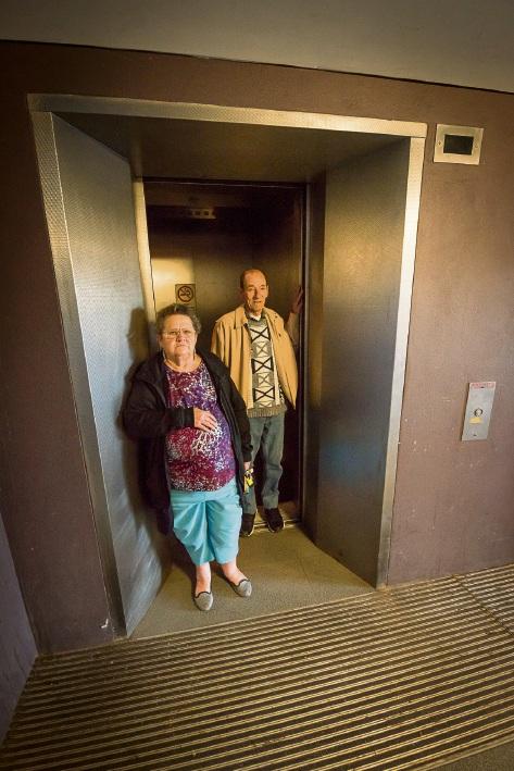 Brownlie Towers residents Sylvia Brandis and Brian Clark at the broken lifts at B-block last week.
