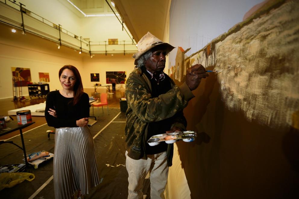 Curator Clothilde Bullen with Fitzroy Crossing artist Mervyn Street. Picture: Andrew Ritchie