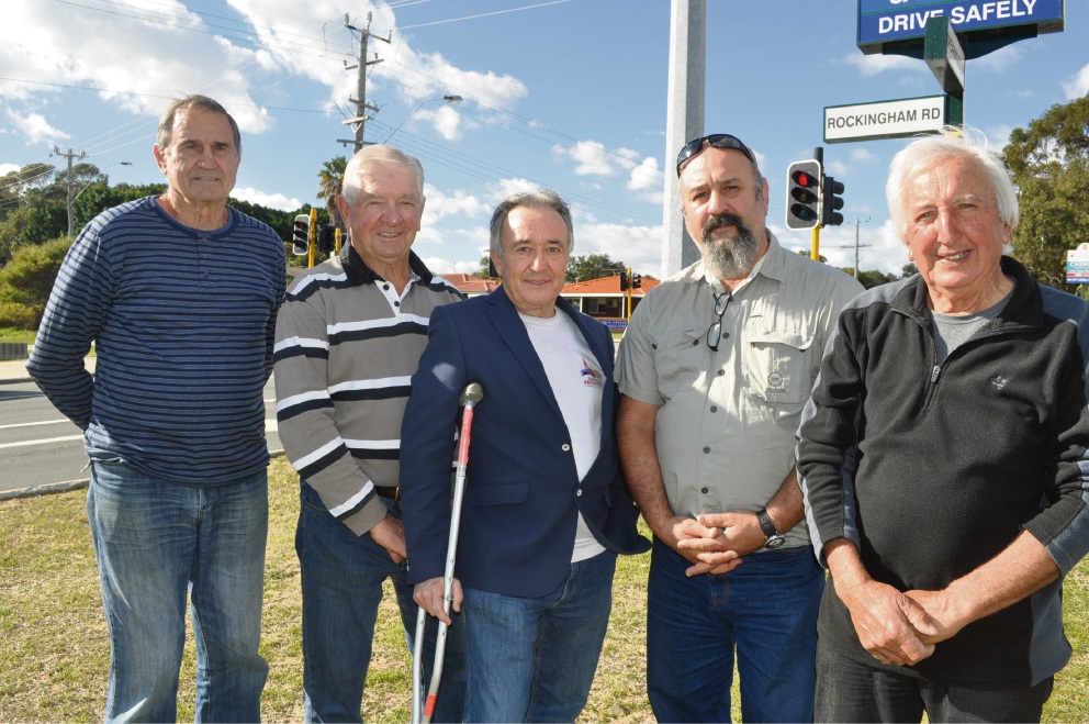 Cockburn councillor Kevin Allen (centre) with Spearwood residents (from left) Len Glamuzina, Steve Srhoy, John Cunai and Tony Ravlich.