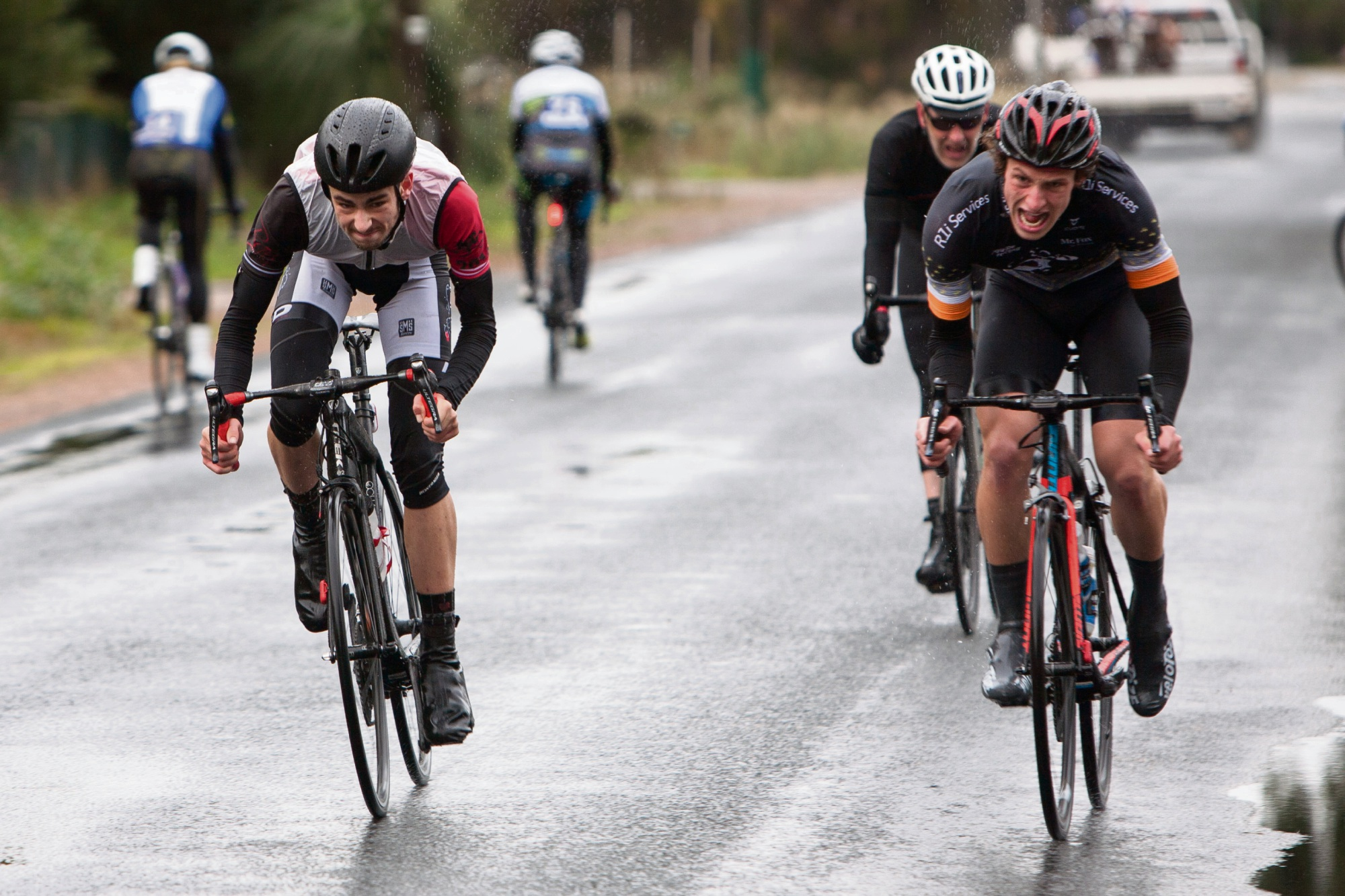 Jordan Dawson, second left, sprints to victory. Picture: Nick Cowie