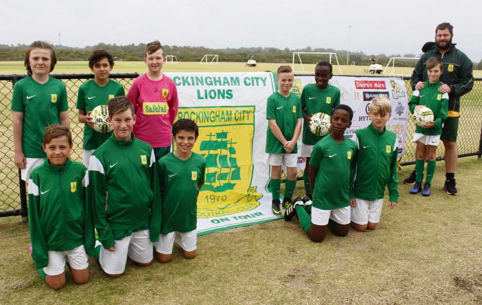Rockingham City under-11s (standing) Callum Bonnie, Nathan Spiranovic, Joshua van Dyk, Cassidy Wylie, Tino Mutema, George Jones and coach Nathan Jones with (kneeling) Lucas Byrne, Oliver Jones, Owen Carter, Sidney Magumise and Aiden Pearce.