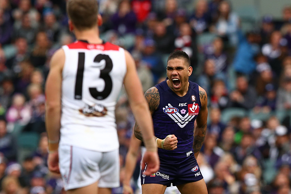 Michael Walters celebrates one of his six goals goal during the round 15 match against St Kilda. Picture: Paul Kane/Getty Images