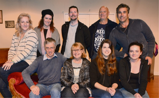 Back row: Cherry Allen (Debbie), Kirstie Francis (director), Kyle Binstead (Ted the undertaker), Danny Joyce (stage manager), Peter Scarrott (Michael). Front row Peter Shaw (Ron), Sue Walker (Dawn), Helen Parish (Karen), India Allen (lighting and sound technician). Picture: Peter Francis