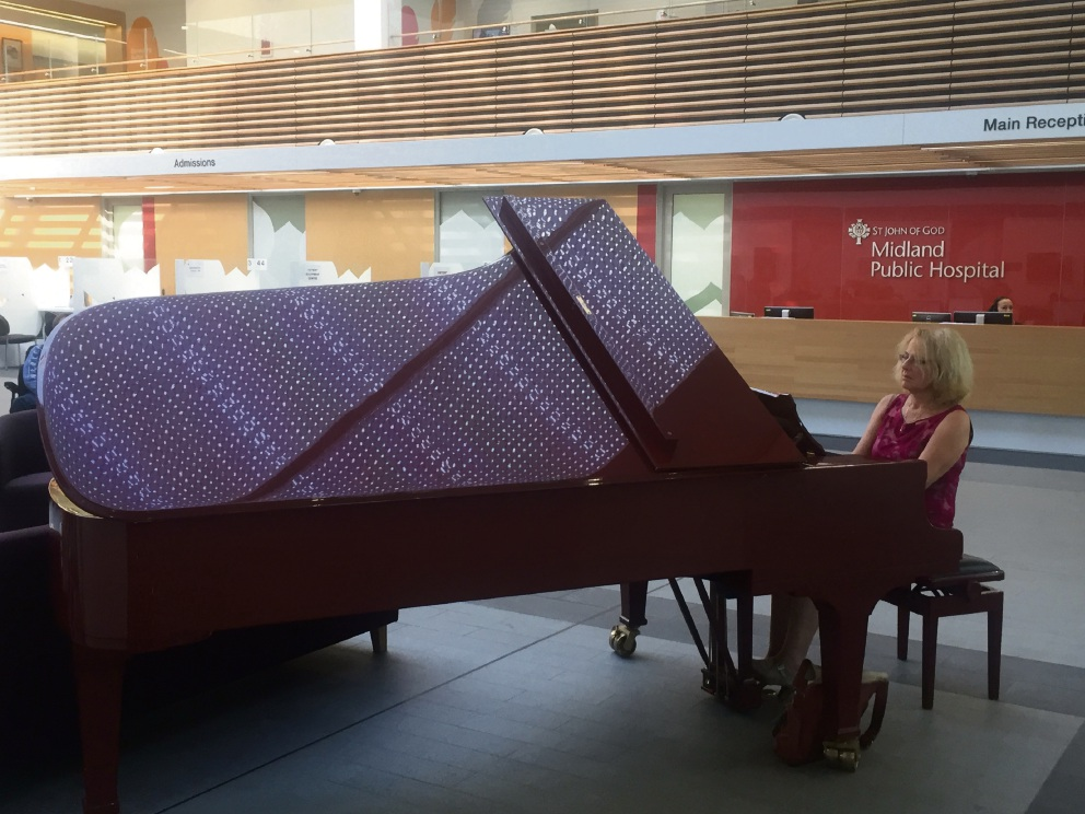 Local pianist Faith Maydwell giving first performance at the hospital.