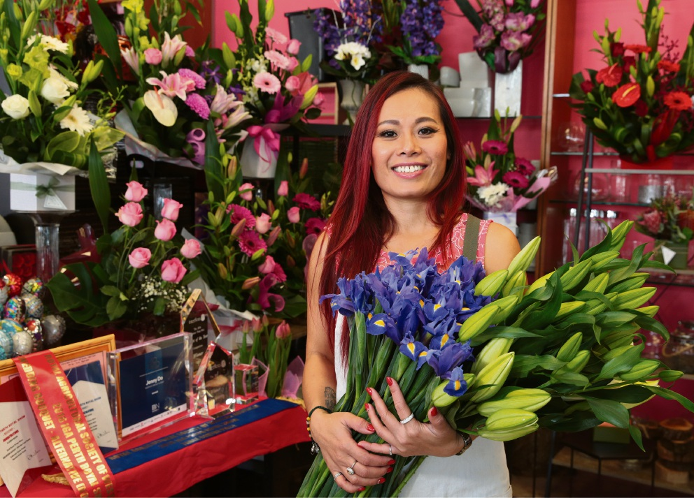 Jenny Do owner of Warwick Grove Florist. Picture: Martin Kennealey d470177