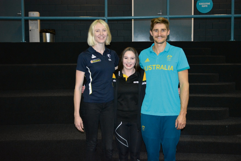Wheelchair basketballer Amber Merritt, diver Nikita Hains and kayaker Stephen Bird.