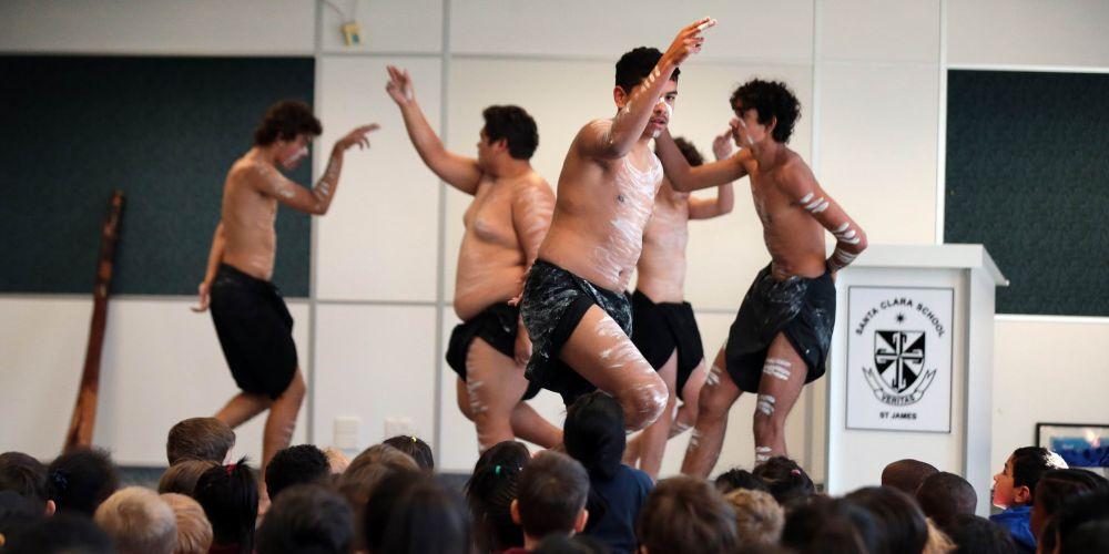 Wesley College Aboriginal dance group Moorditj Mob.