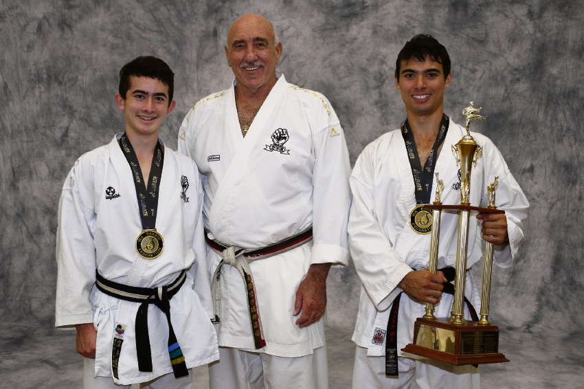 Harrison Loh, renowned WA Goju Kai instructor Brian Mackie and Brendan Loh.