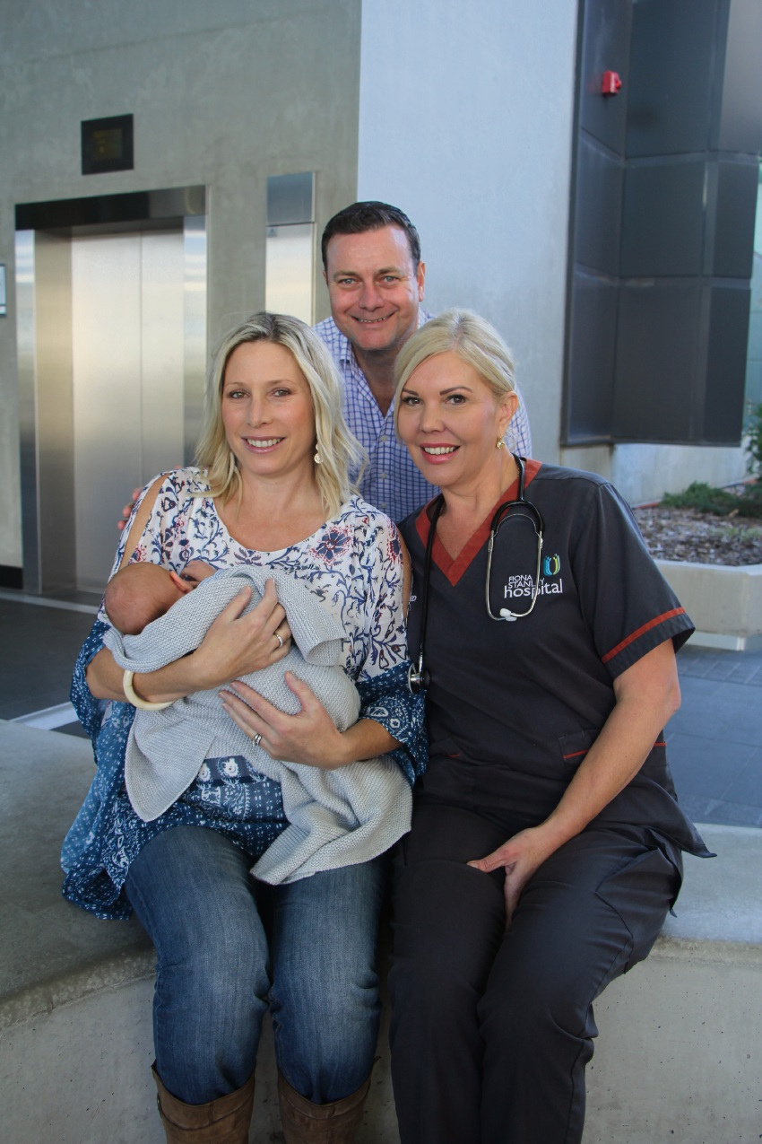 Tricia and Dirk Mulder with baby Pierce and registered midwife Vanessa De Graff.