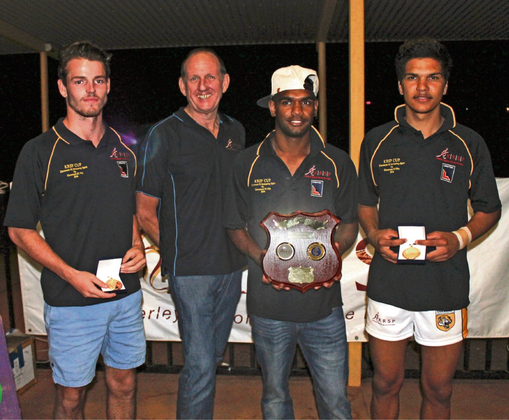 (l-r) Jack Prendiville (Previously Claremont Colts), Gary Johnson (KRSP Managing Director), Maythan Long and Sam Petrevski-Seton (Carlton Football Club) after the 2014 Kimberley Cup.