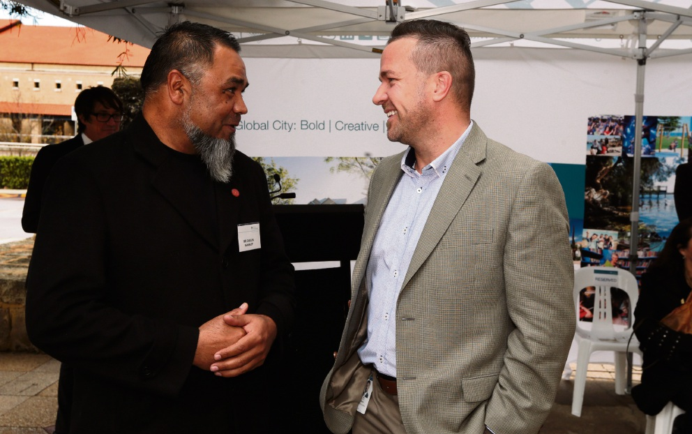 Shaun Nannup (guest speaker -welcome to country) with Joondalup Mayor Troy Pickard. Picture: Martin Kennealey d471182