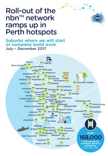 Perth's NBN rollout will ramp up in these areas over the next six months.