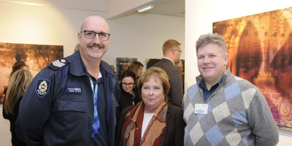 Senior Sergeant Steve Dawson, Cr Kerry Hollywood and Adrian Hill. Picture: Chris Kershaw