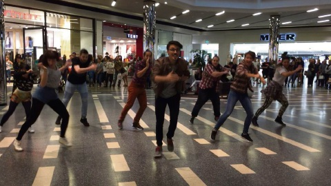 Patrick Thomas front and centre of the flashmob.