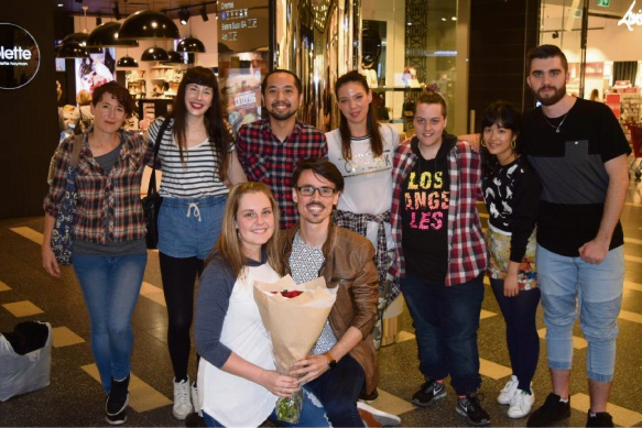Libby Pretorius and Patrick Thomas with the flashmob dancers and Jason Lau (third from left).